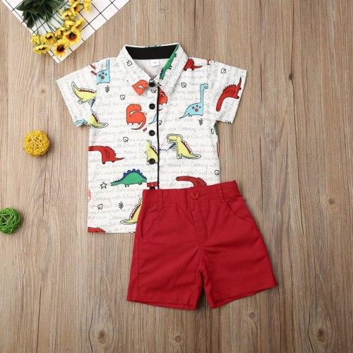 Summer Toddler Baby Boy Clothes Cartoon Dinosaur Print Short Sleeve Shirt Tops Short Pants 2Pcs Outfit Gentleman Clothes