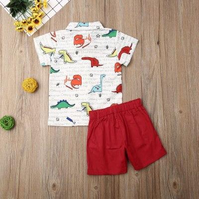 Summer Toddler Baby Boy Clothes Cartoon Dinosaur Print Short Sleeve Shirt Tops Short Pants 2Pcs