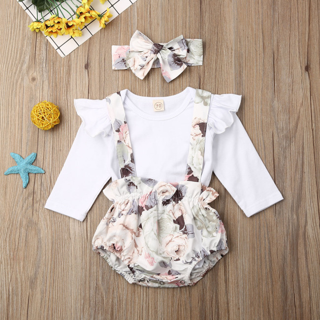 Newborn Baby Girl Clothes Solid Color Long Sleeve Romper Tops Strap Flower Print Short Pants Headband 3Pcs Outfits Set
