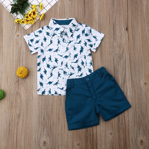 Summer Toddler Baby Boy Clothes Dinosaur Print Shirt Tops Short Pants 2Pcs Outfits Casual Clothes Summer