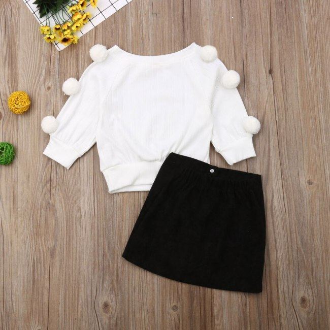 Autumn Newborn Baby Girl Clothes Solid Color Long Sleeve Knitted Cotton Sweater Tops Button Mini Skirt 2Pcs Outfits Set
