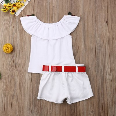 Toddler Baby Girl Clothes Flower Off Shoulder Ruffled Tops+Denim Ripped Shorts 2PCS Outfits Summer Clothes