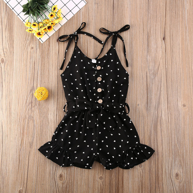 Toddler Baby Girl Clothes Love Peach Heart Print Strap Romper Jumpsuit One-Piece Outfit Cotton Clothes