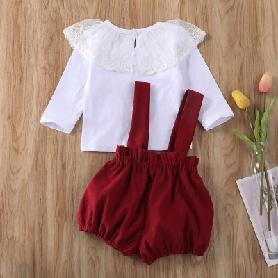 Newborn Baby Girl Clothes Solid Color Lace Ruffle Long Sleeve Tops Strap Shorts Overalls 2Pcs Outfits Cotton Clothes
