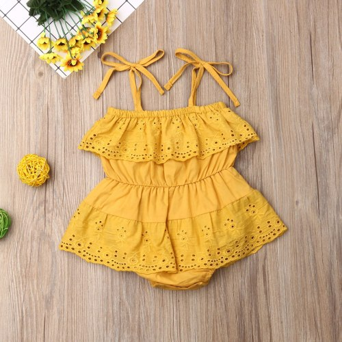 Newborn Baby Girl Clothes Solid Color Off Shoulder Sling Flower Ruffle Romper Jumpsuit One-Piece Outfit Cotton Sunsuit