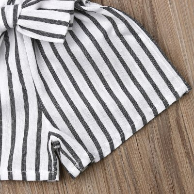 Summer Newborn Baby Girl Clothes Sleeveless Striped Bowknot Strap Romper Jumpsuit One-Piece Outfit Sunsuit Clothes