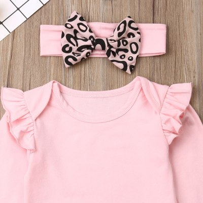 \Newborn Baby Girl Clothes Fly Sleeve Knitting Cotton Romper Tops Leopard Print Long Pants Headband 3Pcs Outfits Clothes
