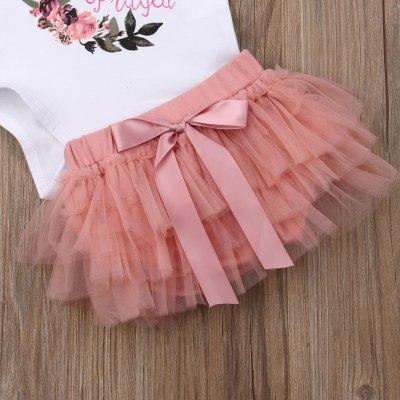 Newborn Baby Girls Flower Tops Romper Tutu Skirt Outfits Set Clothes