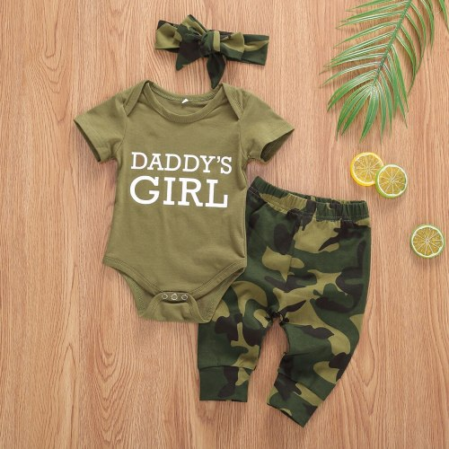 Newborn Summer Letter Print Short Sleeve Romper Tops Camouflage Print Pants Headband 3Pcs Outfits