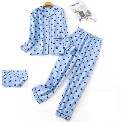 Pure Cotton Pajamas Set WomenCartoon Bunny Print Female Winter Sleepwear