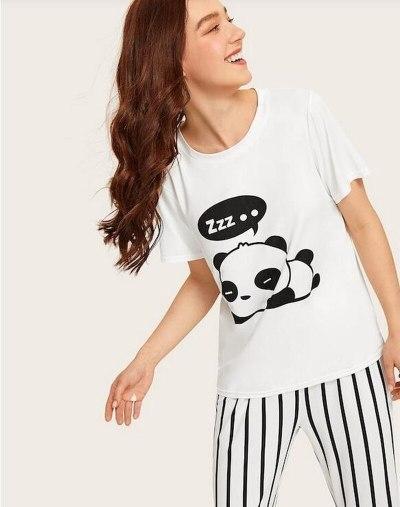 Cute Panda Print Pajamas for Women Home Sleepwear