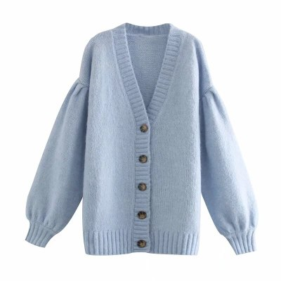 Blue Oversized Women  Ribbed V Neck Long Puff Sleeve Cardigan