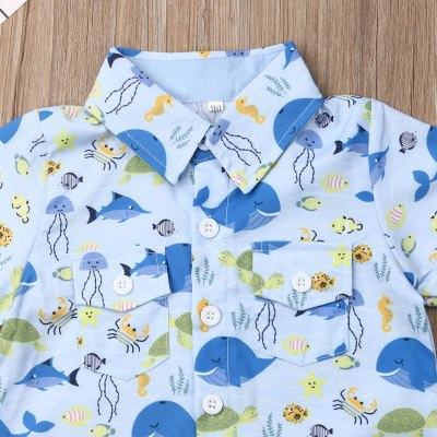 Summer Toddler Baby Boy Clothes Marine Organism Print Shirt Tops Short Pants 2Pcs Outfits Gentleman Formal Clothes