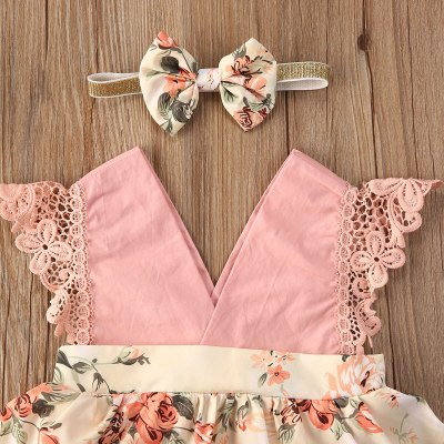 Newborn Baby Girl Clothes Sleeveless Lace Ruffle Flower Print V-Neck Romper Headband 2Pcs Outfits Sunsuit Summer Set