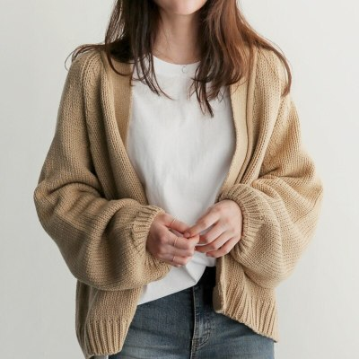 Autumn Chic Women Cardigans Sweater Long Sleeve Loose Plus Size Girls Knitted Short Coat Causal Solid Korean Tops 2020