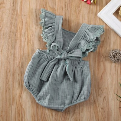 Newborn Baby Girl Clothes Flower Print Sleeveless Knitted Cotton Romper Jumpsuit One-Piece Outfit