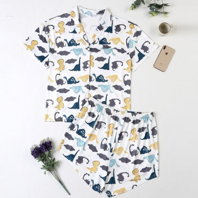 Cute Pajamas for Women Cotton Cartoon Dinosaur Print Pajamas