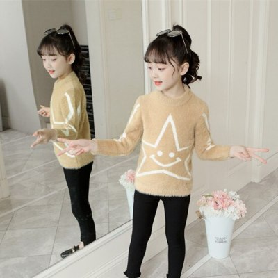 Baby girls spring warm jacket 3-13T children Mink fleece sweaters kids pullovers winter velvet sweaters bottoming shirt outfit
