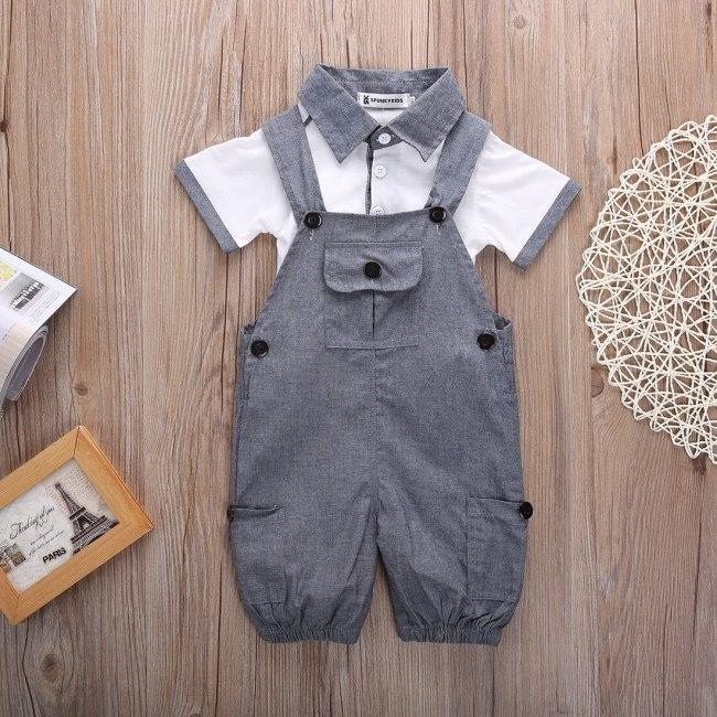 Newborn Baby Boy Clothes Solid Color Short Sleeve T-Shirt Tops Strap Long Pants 2Pcs Outfits Cotton Clothes Set