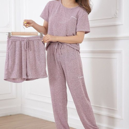 Women's Casual Pajamas Long Sleeves Shirt Long Pant Shorts Suit