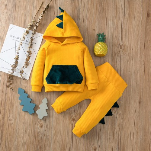 Newborn Baby Boy Clothes Cute Three-dimensional Dinosaur Hooded Long Sleeve T-shirt Elastic Long Pants 2Pcs Outfits Set