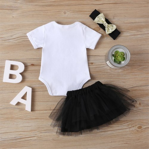 Newborn Baby Girl Clothes Letter Print Short Sleeve Romper Tops Tutu Tulle Skirt Headband 3Pcs Outfits Sunsuit Summer