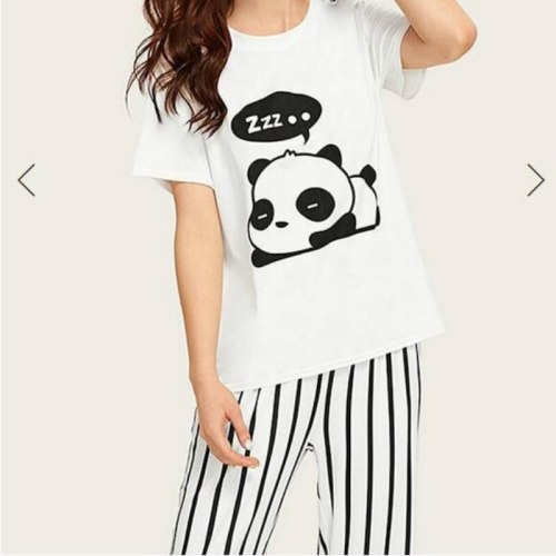 Cute Panda Print Pajamas for Women Home Sleepwear