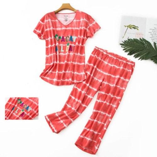 Cotton Pajamas Set Short Sleeve T-shirt Long Pants 2 Piece Set