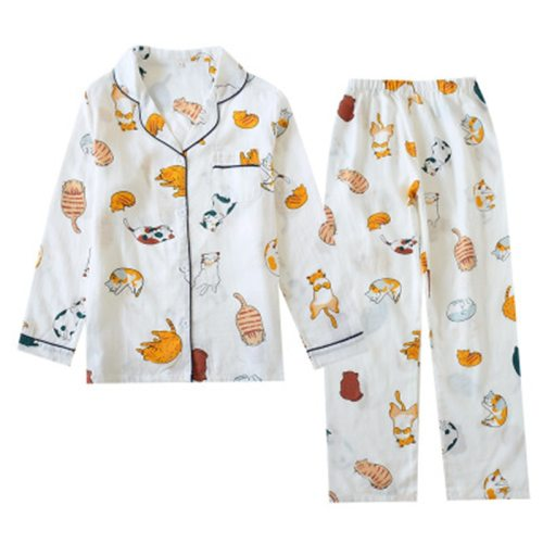 Cotton Pajamas Set Women Sweet Funny Cat Print Homewear Femme Long Sleeves Sleepwear 2020 Fashion Autumn Pjs
