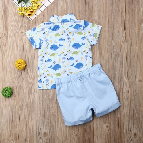 Summer Toddler Baby Boy Clothes Marine Organism Print Shirt Tops Short Pants 2Pcs Outfits Gentleman Formal Clothes