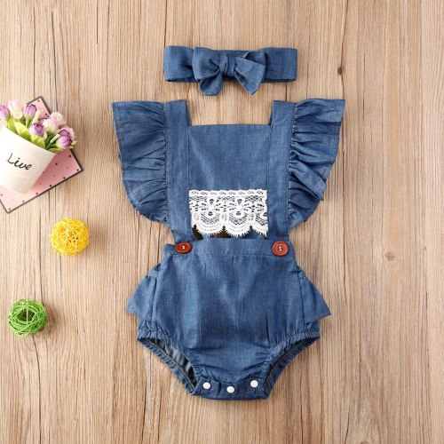 Newborn Baby Girl Clothes Solid Color Sleeveless Ruffle Lace Flower Denim Romper Jumpsuit Headband 2Pcs Outfits Sunsuit