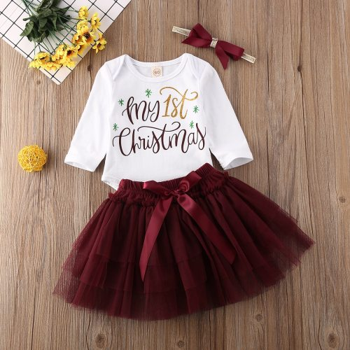Newborn Baby Girl Clothes My 1st Christmas Romper Tops Mini Tulle Skirt Headband 3Pcs Outfits Cotton Clothes
