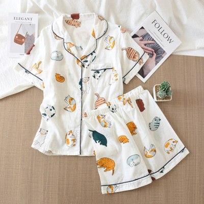 Cotton Pajamas Set Women Sweet Funny Cat Print Homewear Femme Long Sleeves Sleepwear 2020 Fashion Autumn Pjs