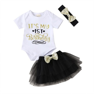 Newborn Baby Girl Clothes Letter Print Short Sleeve Romper Tops Tutu Tulle Skirt Headband 3Pcs Outfits Sunsuit Summer