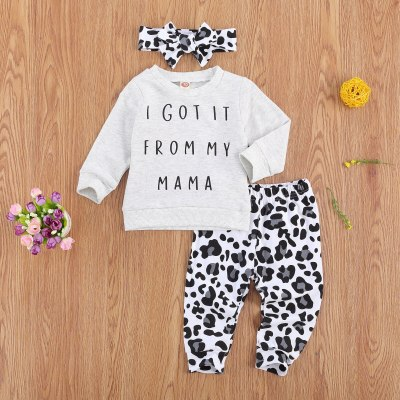 Newborn Baby Girl Clothes Letter Printed Sweatshirt Leopard Print Long Pants Headband 3Pcs Outfits Autumn Clothes Set