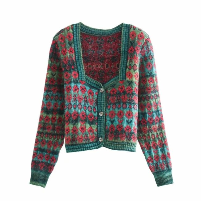 Vingate Green Jacquard Cropped Knitted Cardigan Sweater Women Za Autumn Fashion Square Neck Long Sleeve Ladies Cardigans Top