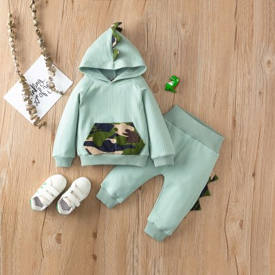 Newborn Baby Boy Clothes Cute Three-dimensional Dinosaur Hooded Long Sleeve T-shirt Elastic Long Pants 2Pcs Outfits Set