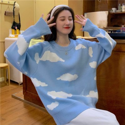 Korean Cartoon Cloud Women Sweater Chic Causal Oversized Knitted Pullover Tops 2020 Autumn New Pull Jumpers 6B805