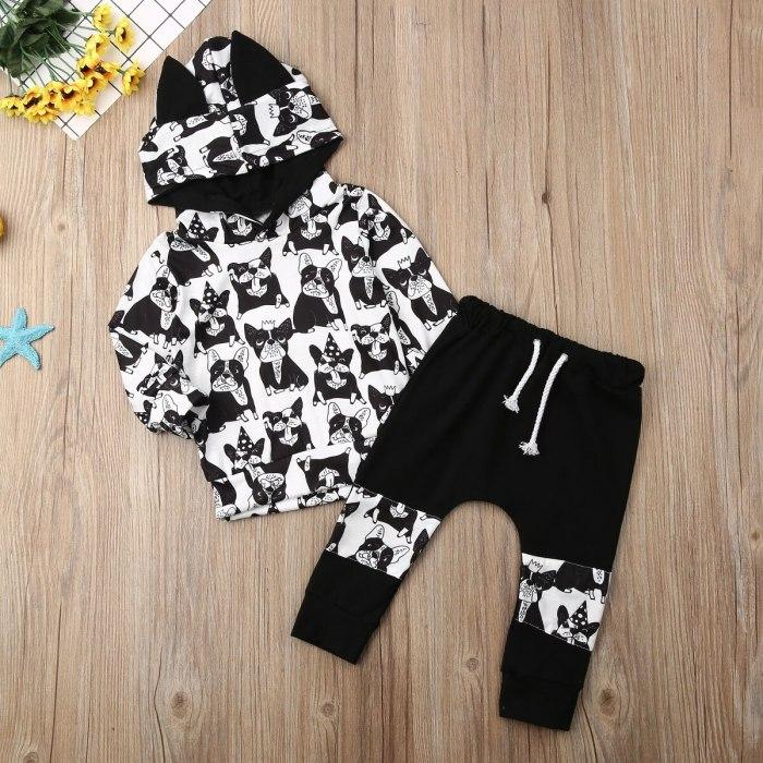 Newborn Baby Boy Clothes Cartoon Animals Print Long Sleeve Hooded Tops Long Pants 2Pcs Outfits Cotton Clothes Sweatshirt