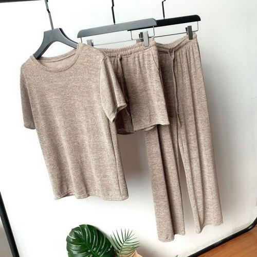 Women's Casual Pajamas Long Sleeves Shirt Long Pant Shorts Suit
