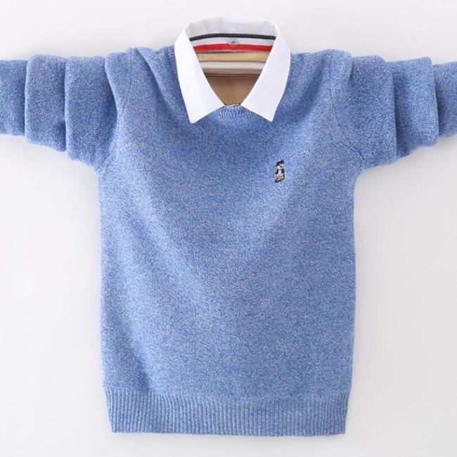 Boys pure cotton sweaters 4-16T kids warm jacket baby boys pullovers long sleeve knitted sweaters with shirt collar outfit