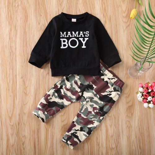 Newborn Baby Boy Clothes Letter Long Sleeve Tops Camouflage Print Long Pants 2Pcs Outfits Cotton Clothes Sweatshirts Set