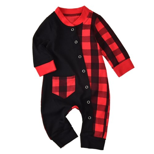 Newborn Baby Clothes Long Sleeve Jumpsuit Autumn Fashion Plaid Stitching Snap Open One Piece Long Pants Romper Clothes