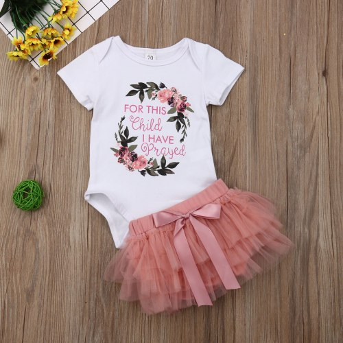 Newborn Baby Girls Flower Tops Romper Tutu Skirt Outfits Set Clothes