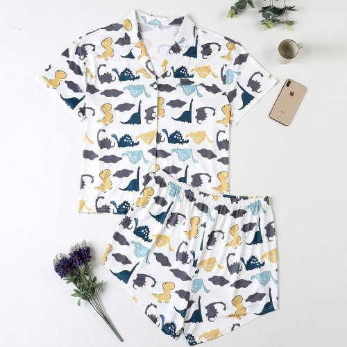 Cute Pajamas for Women Cotton Cartoon Dinosaur Print Pajamas
