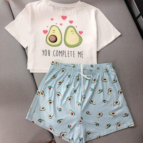 Women's Sleepwear Cute Cartoon Print Short Set Avocado  Pajama Set