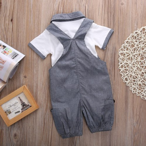 Newborn Baby Boy Clothes Solid Color Short Sleeve T-Shirt Tops Strap Long Pants 2Pcs Set