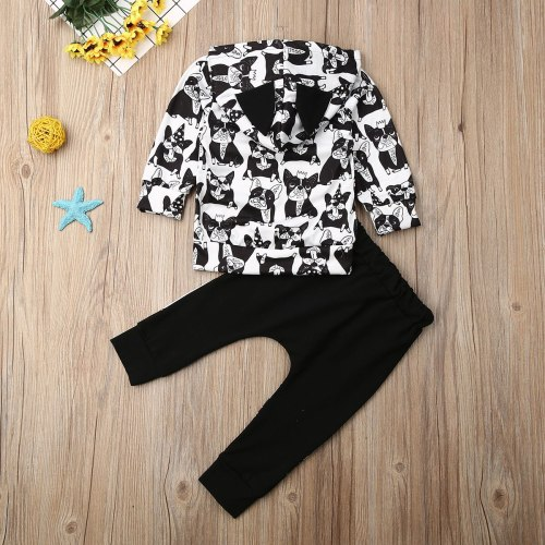 Newborn Baby Boy Clothes Cartoon Animals Print Long Sleeve Hooded Tops Long Pants 2Pcs Outfits Cotton Clothes Sweatshirt