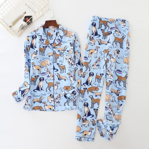 Pure Cotton Pajamas Set Women Plush Print Cute Dog  Sleepwear