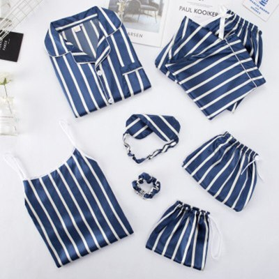 Women's Rayon Silk Pajamas Sex Hot Sleepwear Set Top Women Cartoon Pajama Set